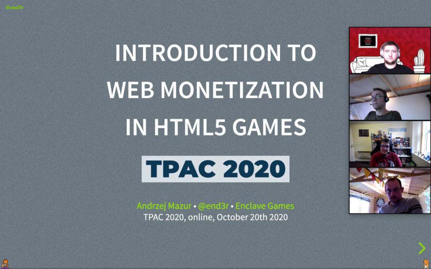 Enclave Games - Grant Report 1: W3C Games CG TPAC 2020