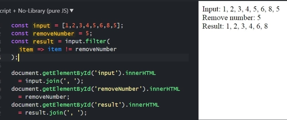 Cover image for How to remove a number from an array with JavaScript
