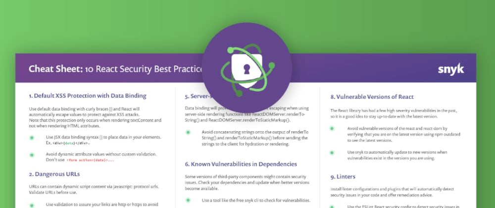 Cover image for [Discuss] 10 React security best practices