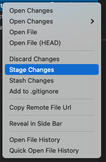 Selecting Stage Changes
