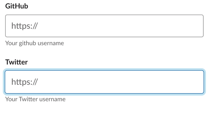 The form on your slack profile asking for a github username but the form only accepts a full url.