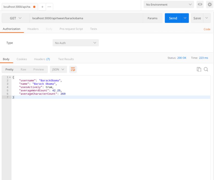 Screenshot of Postman API call
