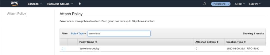 AWS Console — Attach Policy