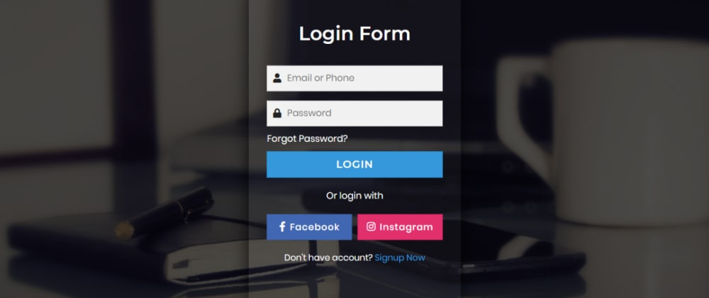 Cover image for Amazing Transparent Login Form using HTML CSS & JavaScript