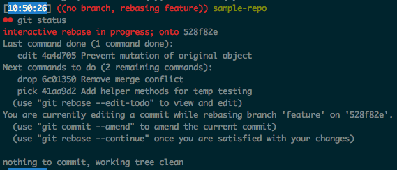 Git status after amending first commit