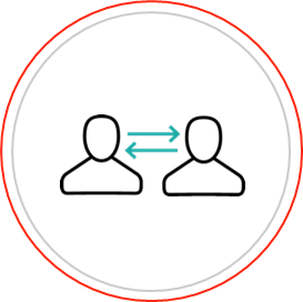 Arrows pointing between two people indicating 'connection'