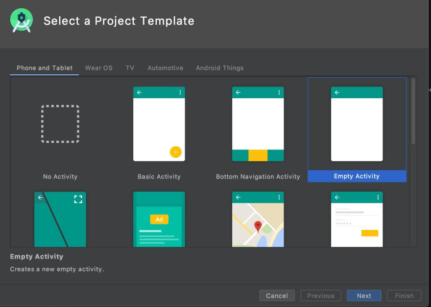Screenshot of Android Studio Activity creation