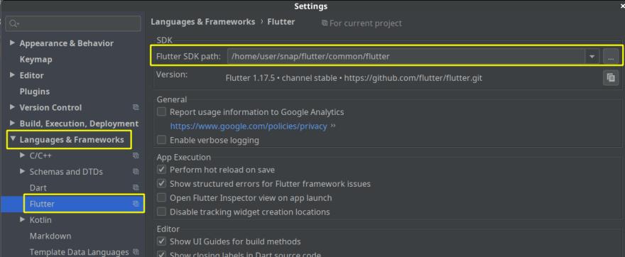 Flutter SDK path settings