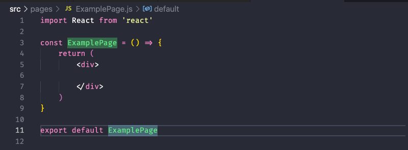 Example of barebones examplepage component