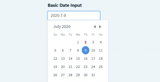 basic dateinput with react-day-picker