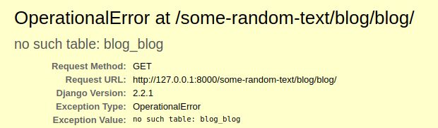 Operational Error on trying to load Blog