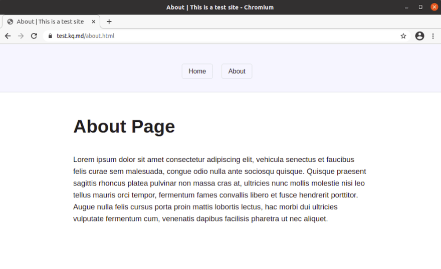 Test about page with .html showing
