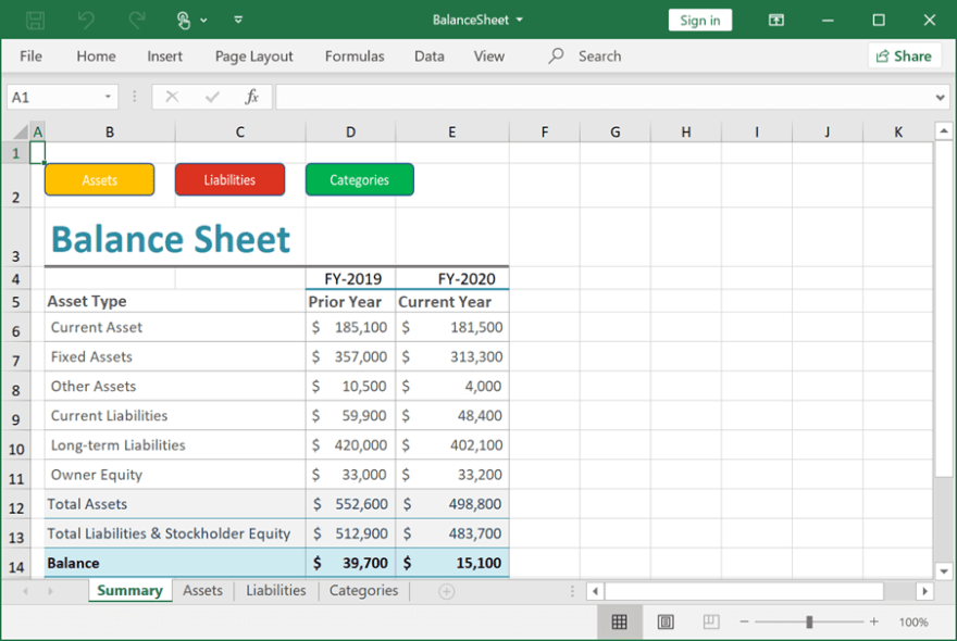 Excel File with Balance Sheet Created Using Flutter Excel Library