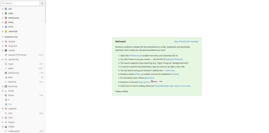 DevDocs landing page