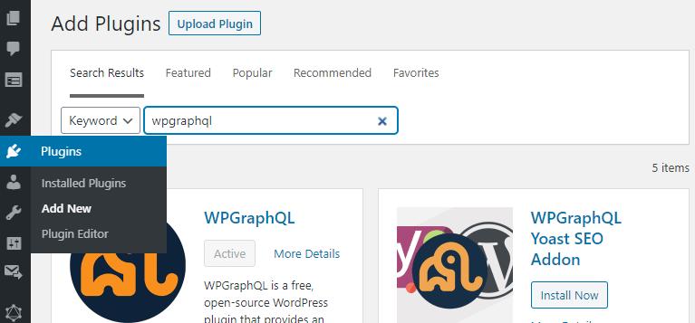 Wordpress Admin page: Adding a new plugin