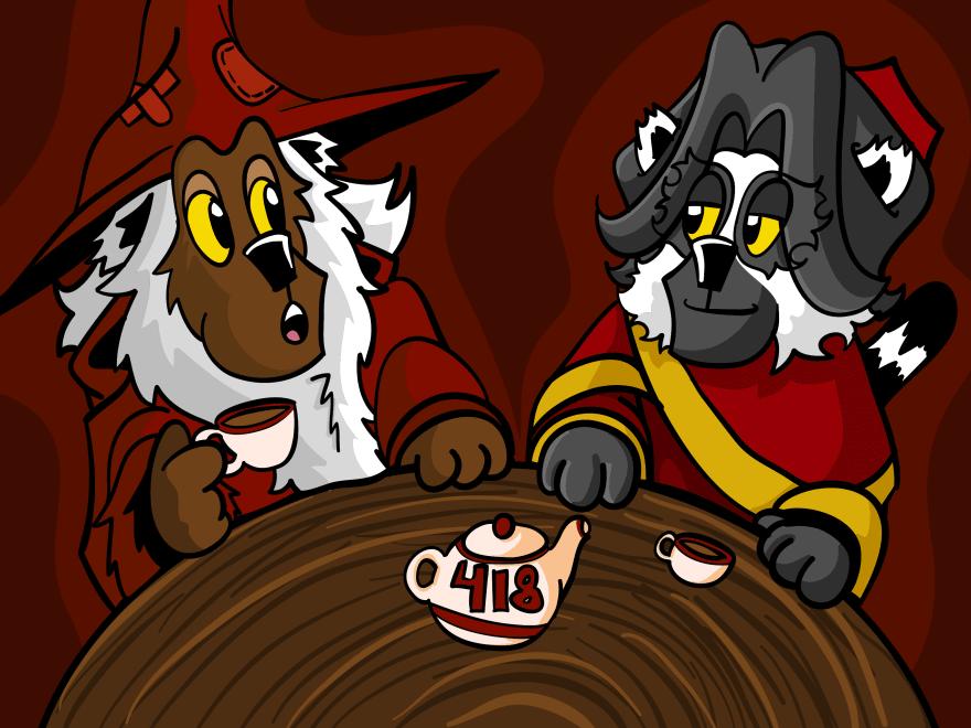 Crimson and Scarlet talking, Scarlet not amused