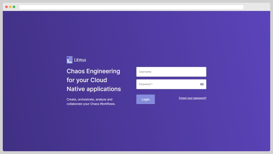 LitmusChaos Portal sign-in page