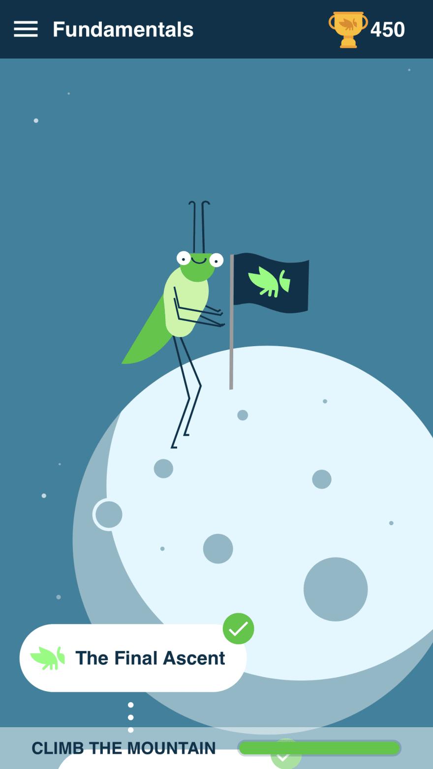 Screenshot from Grasshopper of the mascot Grace the Grasshopper