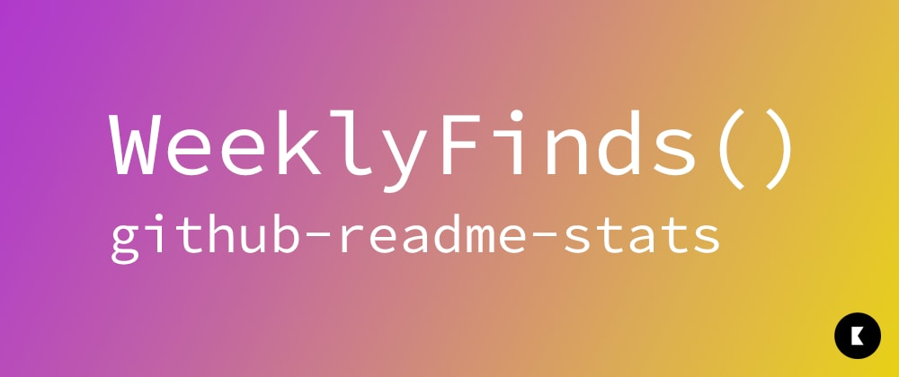 Cover image for WeeklyFinds(2): github-readme-stats | Add stats to your GitHub readme
