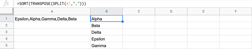 a spreadsheet formula with a sort function alphabetizing a list.