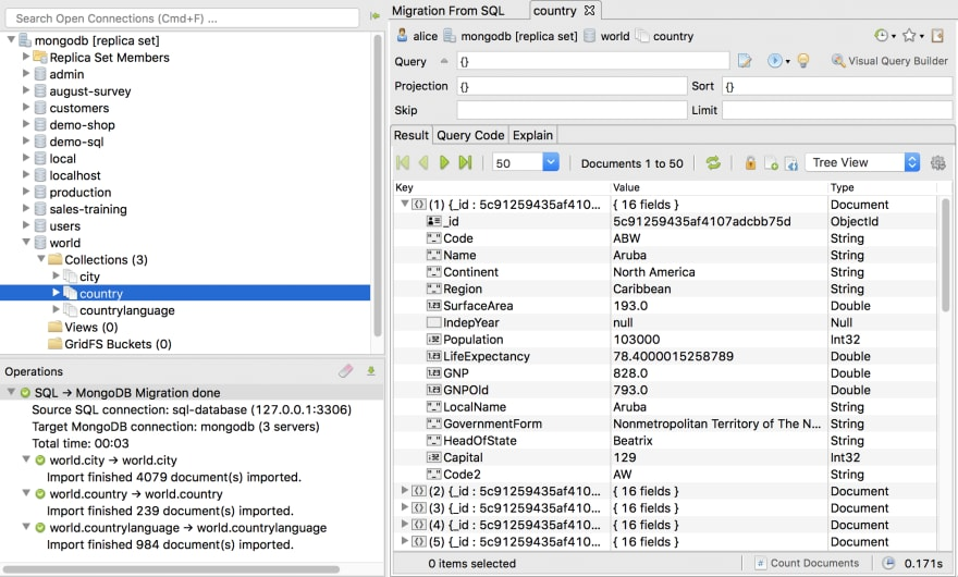 Track operations and double-check the MongoDB collections