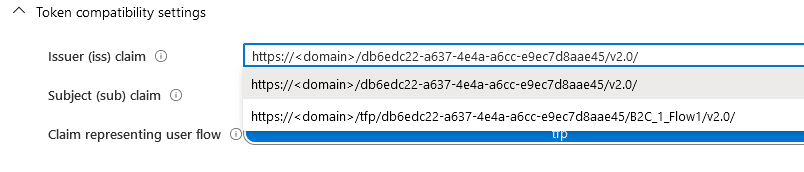 The Azure Portal UI showing the properties section of a B2C user flow. There is a section for selecting the issuer, with two options in a dropdown. The options are the values mentioned in the previous content in this article.
