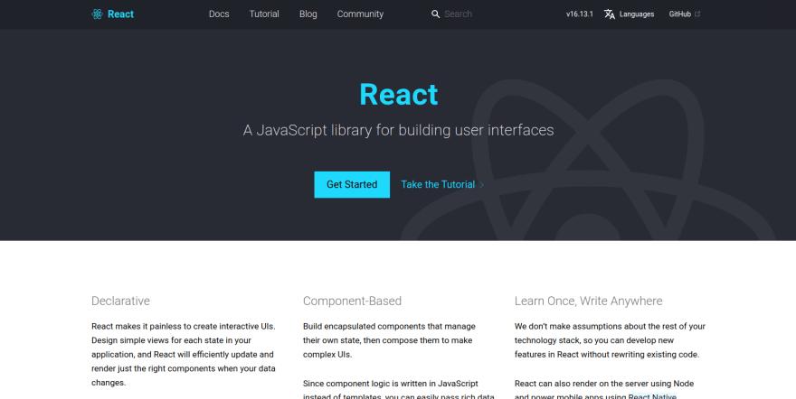 React landing page