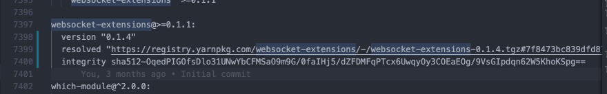 Updated websocket-extensions package in yarn.lock file