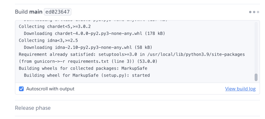 Heroku shows the status of your build