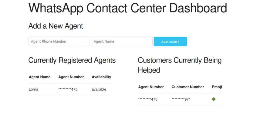 app web interface shows active agents and customers, with phone numbers mostly screened just with the last few digits showing