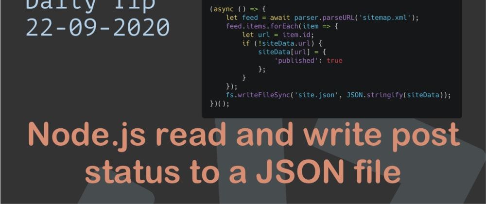 Cover image for Node.js read and write post status to a JSON file