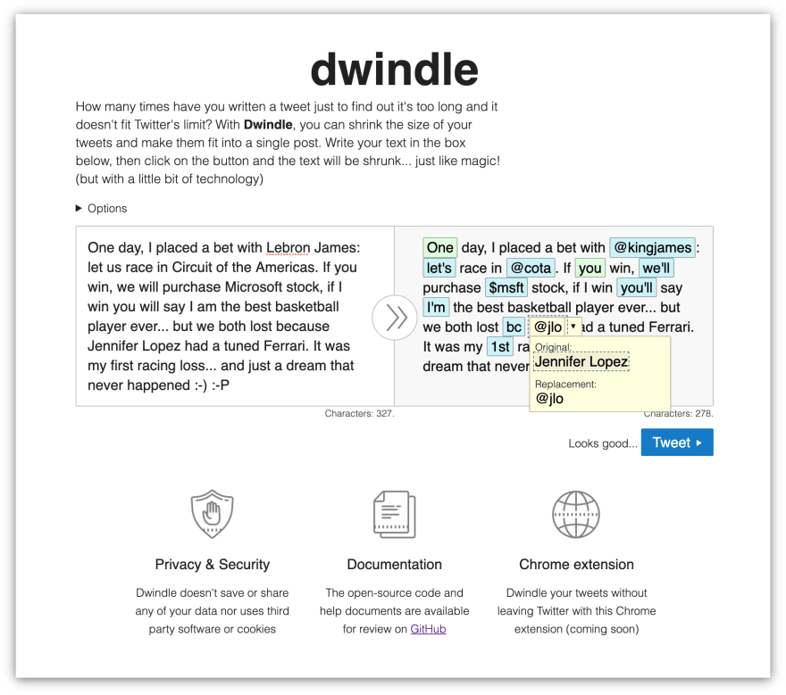 Screenshot of Dwindle App