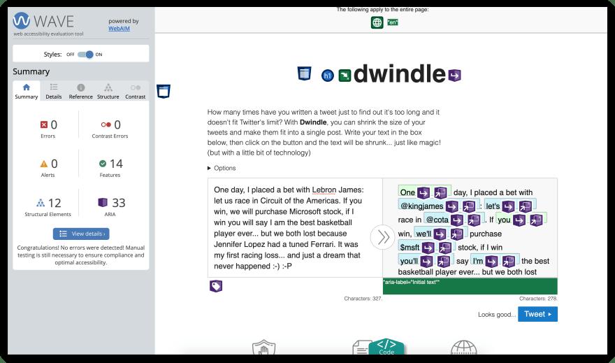 Screenshot of Dwindle showing WebAIM wave results