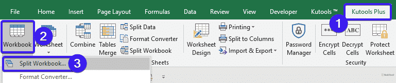 Select the Split Worksheet option