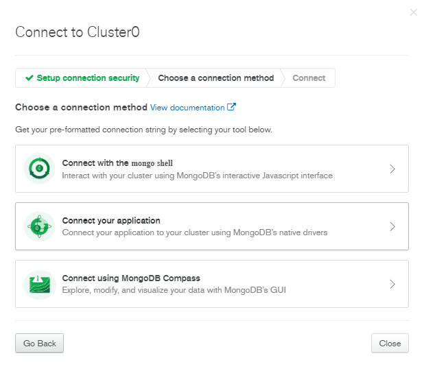 Connect to Cluster Options