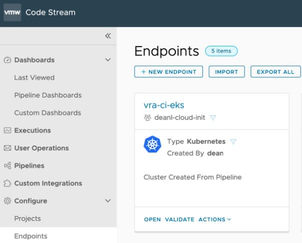 vRA EKS - Code Stream - Kubernetes Endpoint