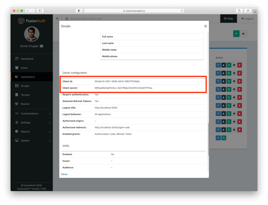 Viewing the application's OAuth settings to record the Client ID and Client Secret values.