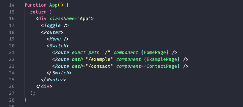 How appjs should look after including our components