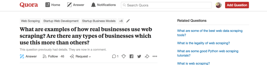 This question on Quora encouraged me to build my web scraper