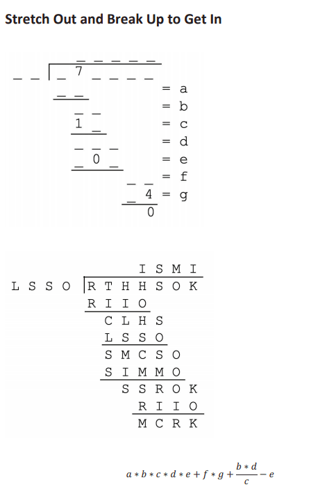 Puzzle eight is a couple of long division problems followed by a longer, more complicated arithmetic problem. The bottom two problems are made of letters.