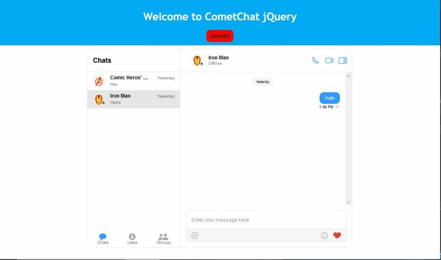 jQuery Chat App with CSS
