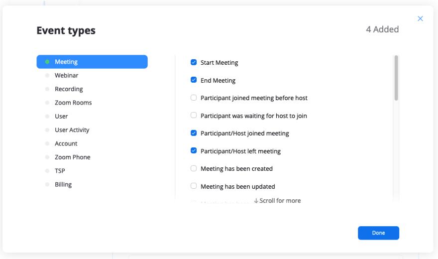 Screenshot of Zoom App settings