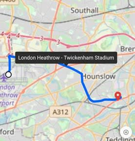 Tooltips in Lines Showing Road Route