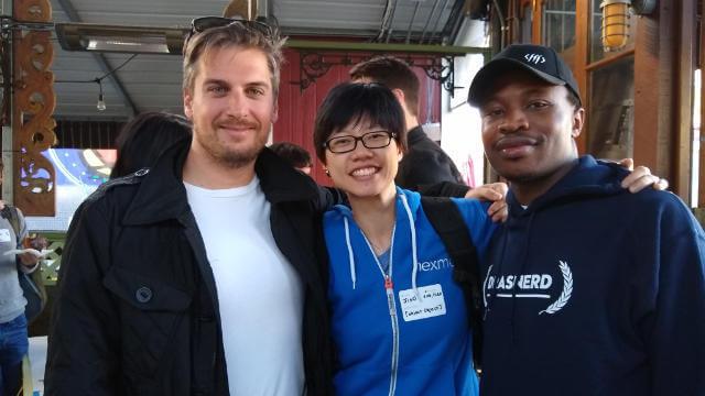 Tamas Piros, Christian Nwamba and I at Donut.JS