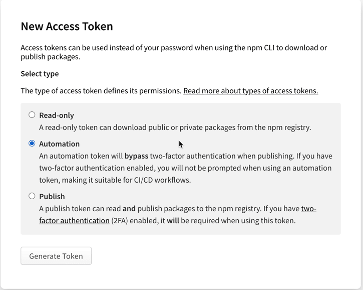 Select automation token type