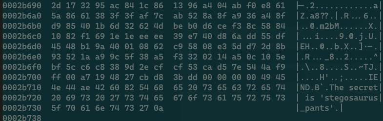 A screenshot of the output of hexdump, showing rows of hex data with a sidebar of ASCII text.