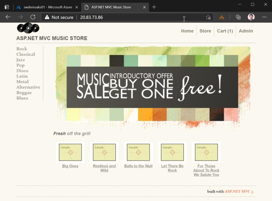 MVC Music Store sample application running on Kubernetes!