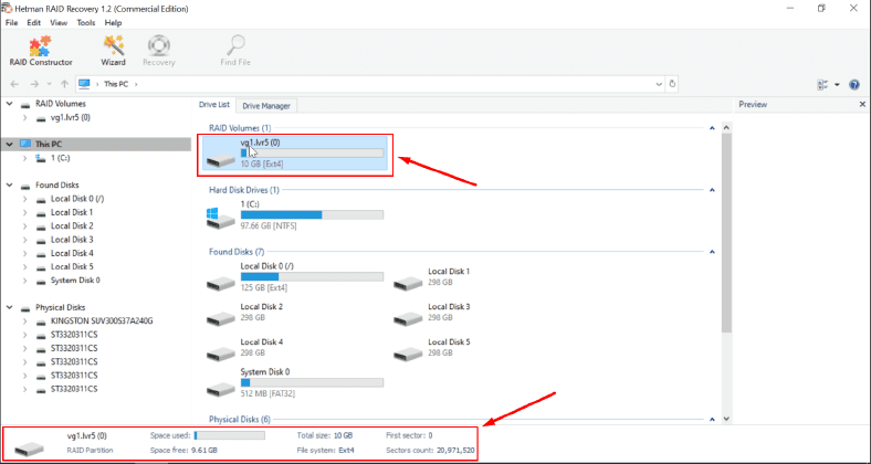 LVM RAID displays all information