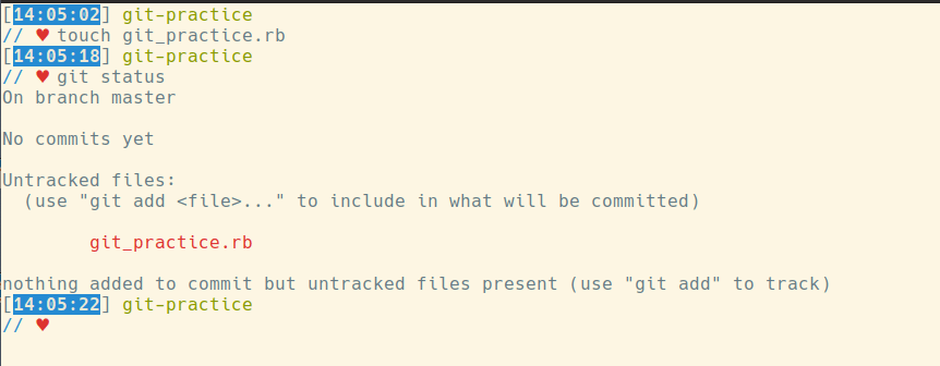 touch git_practice.rb, then git status