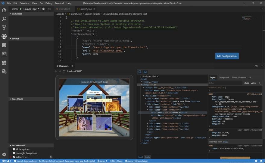 demo of edge developer tools inside VS Code